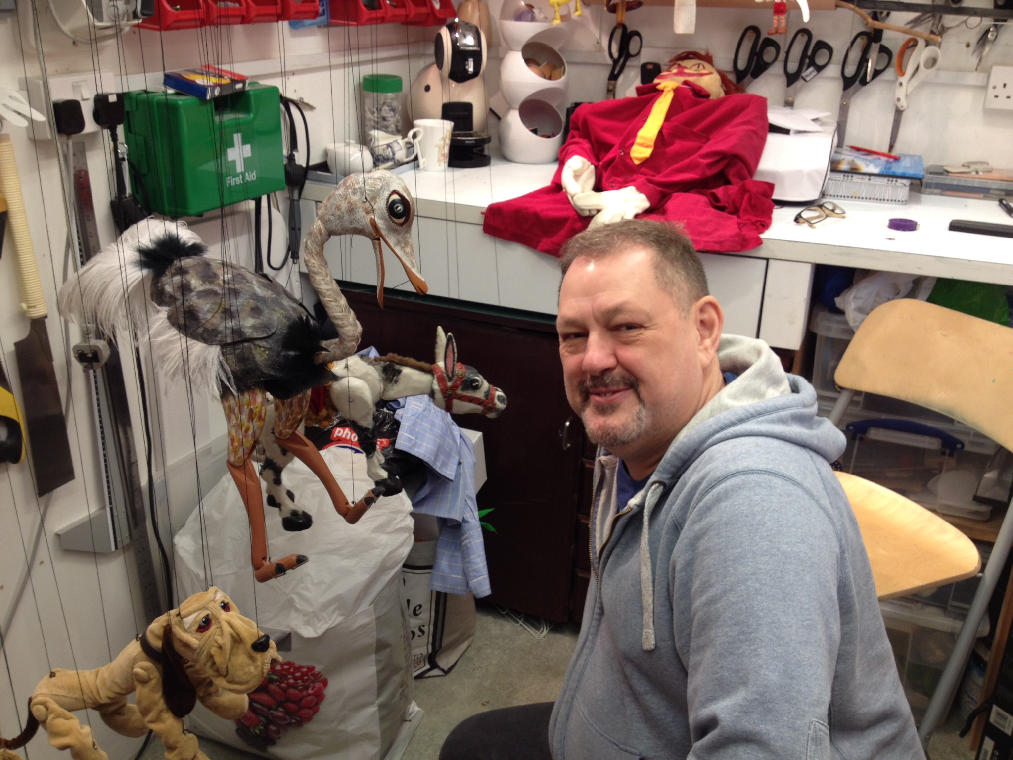 Keith Frederick working on the new and old Muffin puppets